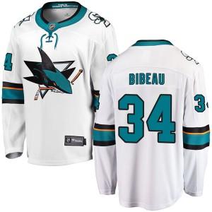 Antoine Bibeau San Jose Sharks Men's Fanatics Branded White Breakaway Away Jersey