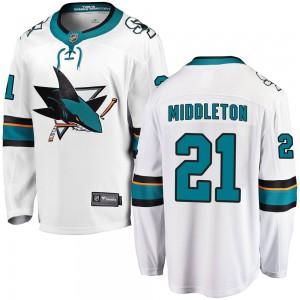 Jacob Middleton San Jose Sharks Men's Fanatics Branded White Breakaway Away Jersey