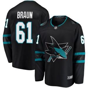 Justin Braun San Jose Sharks Youth Fanatics Branded Black Breakaway Alternate Jersey