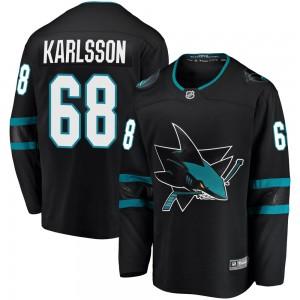 Melker Karlsson San Jose Sharks Youth Fanatics Branded Black Breakaway Alternate Jersey