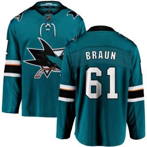 Justin Braun San Jose Sharks Youth Fanatics Branded Teal Home Breakaway Jersey