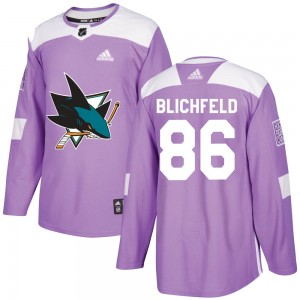 Joachim Blichfeld San Jose Sharks Youth Adidas Authentic Purple Hockey Fights Cancer Jersey