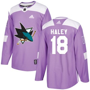 Micheal Haley San Jose Sharks Youth Adidas Authentic Purple Hockey Fights Cancer Jersey