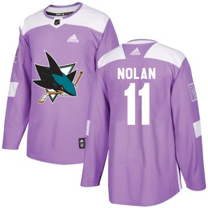 Owen Nolan San Jose Sharks Youth Adidas Authentic Purple Hockey Fights Cancer Jersey