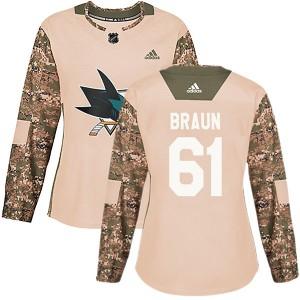 Justin Braun San Jose Sharks Women's Adidas Authentic Camo Veterans Day Practice Jersey