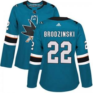 Jonny Brodzinski San Jose Sharks Women's Adidas Authentic Teal Home Jersey