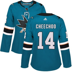 Jonathan Cheechoo San Jose Sharks Women's Adidas Authentic Teal Home Jersey