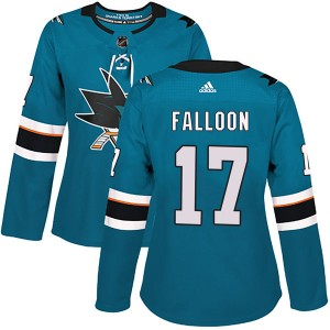 Pat Falloon San Jose Sharks Women's Adidas Authentic Teal Home Jersey
