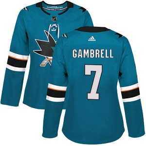 Dylan Gambrell San Jose Sharks Women's Adidas Authentic Teal Home Jersey