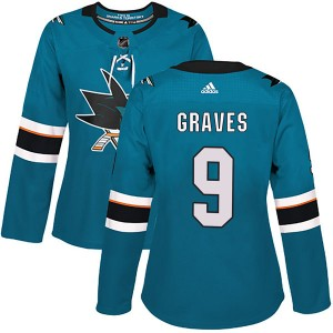 Adam Graves San Jose Sharks Women's Adidas Authentic Teal Home Jersey
