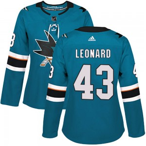 John Leonard San Jose Sharks Women's Adidas Authentic Teal Home Jersey