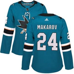 Sergei Makarov San Jose Sharks Women's Adidas Authentic Teal Home Jersey