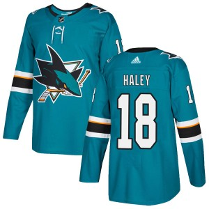 Micheal Haley San Jose Sharks Youth Adidas Authentic Teal Home Jersey