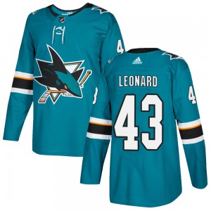 John Leonard San Jose Sharks Youth Adidas Authentic Teal Home Jersey
