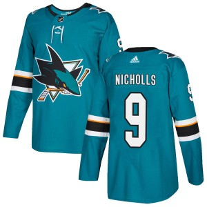 Bernie Nicholls San Jose Sharks Youth Adidas Authentic Teal Home Jersey