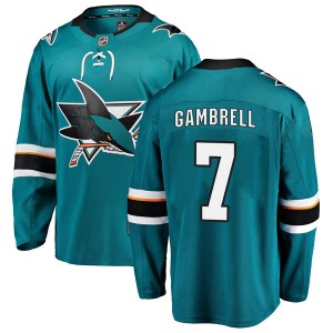 Dylan Gambrell San Jose Sharks Men's Fanatics Branded Teal Breakaway Home Jersey