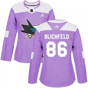 Joachim Blichfeld San Jose Sharks Women's Adidas Authentic Purple Hockey Fights Cancer Jersey