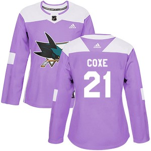 Craig Coxe San Jose Sharks Women's Adidas Authentic Purple Hockey Fights Cancer Jersey