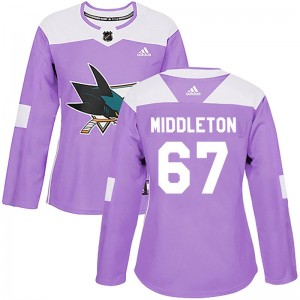Jacob Middleton San Jose Sharks Women's Adidas Authentic Purple Hockey Fights Cancer Jersey