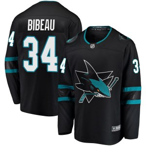 Antoine Bibeau San Jose Sharks Men's Fanatics Branded Black Breakaway Alternate Jersey