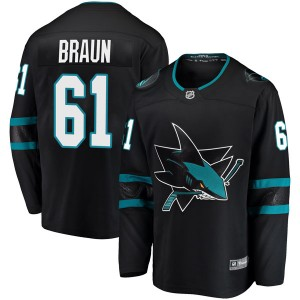 Justin Braun San Jose Sharks Men's Fanatics Branded Black Breakaway Alternate Jersey