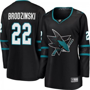 Jonny Brodzinski San Jose Sharks Women's Fanatics Branded Black Breakaway Alternate Jersey