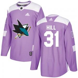 Adin Hill San Jose Sharks Men's Adidas Authentic Purple Hockey Fights Cancer Jersey