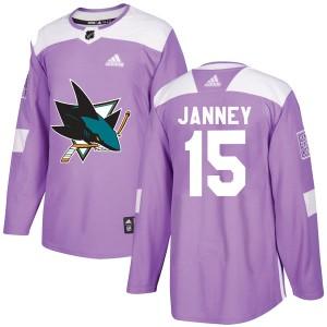 Craig Janney San Jose Sharks Men's Adidas Authentic Purple Hockey Fights Cancer Jersey