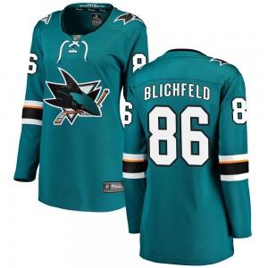 Joachim Blichfeld San Jose Sharks Women's Fanatics Branded Teal Breakaway Home Jersey
