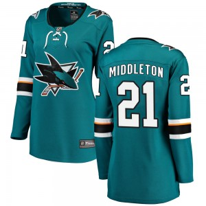 Jacob Middleton San Jose Sharks Women's Fanatics Branded Teal Breakaway Home Jersey
