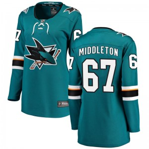 Jacob Middleton San Jose Sharks Women's Fanatics Branded Teal Breakaway Home Jersey