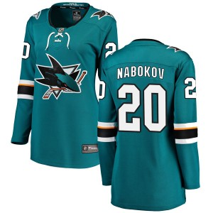 Evgeni Nabokov San Jose Sharks Women's Fanatics Branded Teal Breakaway Home Jersey