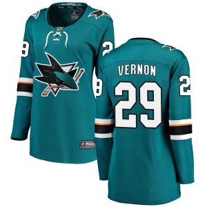Mike Vernon San Jose Sharks Women's Fanatics Branded Teal Breakaway Home Jersey