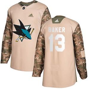 Jamie Baker San Jose Sharks Men's Adidas Authentic Camo Veterans Day Practice Jersey