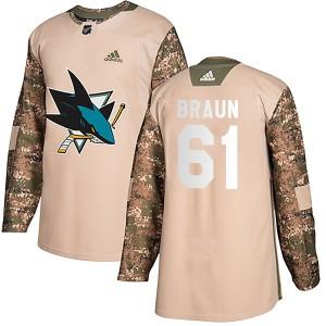 Justin Braun San Jose Sharks Youth Adidas Authentic Camo Veterans Day Practice Jersey