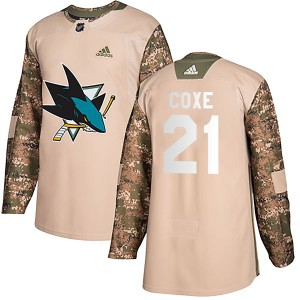 Craig Coxe San Jose Sharks Youth Adidas Authentic Camo Veterans Day Practice Jersey
