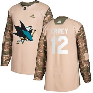 Bob Errey San Jose Sharks Youth Adidas Authentic Camo Veterans Day Practice Jersey