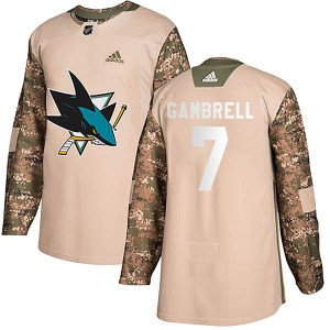 Dylan Gambrell San Jose Sharks Youth Adidas Authentic Camo Veterans Day Practice Jersey