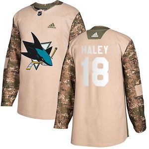 Micheal Haley San Jose Sharks Youth Adidas Authentic Camo Veterans Day Practice Jersey