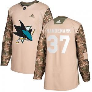 Fredrik Handemark San Jose Sharks Youth Adidas Authentic Camo Veterans Day Practice Jersey