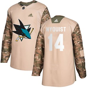 Gustav Nyquist San Jose Sharks Youth Adidas Authentic Camo Veterans Day Practice Jersey