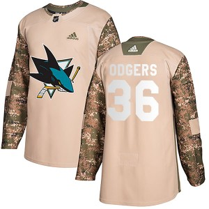 Jeff Odgers San Jose Sharks Youth Adidas Authentic Camo Veterans Day Practice Jersey