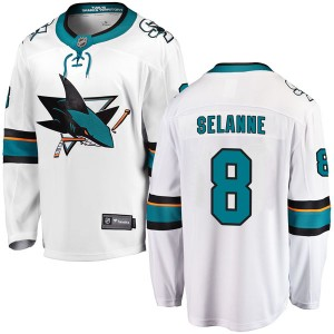 Teemu Selanne San Jose Sharks Youth Fanatics Branded White Breakaway Away Jersey