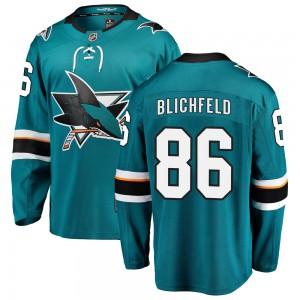 Joachim Blichfeld San Jose Sharks Youth Fanatics Branded Teal Breakaway Home Jersey