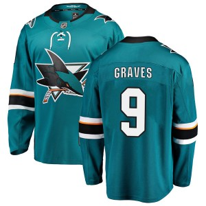 Adam Graves San Jose Sharks Youth Fanatics Branded Teal Breakaway Home Jersey