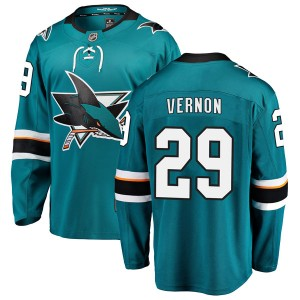 Mike Vernon San Jose Sharks Youth Fanatics Branded Teal Breakaway Home Jersey