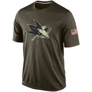 San Jose Sharks Men's Nike Olive Salute To Service KO Performance Dri-FIT T-Shirt