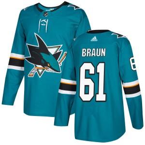 Justin Braun San Jose Sharks Men's Adidas Authentic Teal Jersey