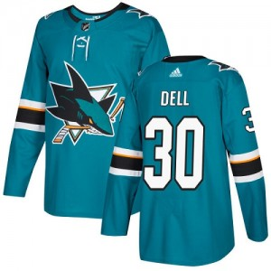 Aaron Dell San Jose Sharks Youth Adidas Authentic Green Teal Home Jersey
