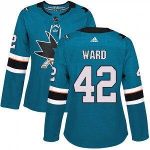 Joel Ward San Jose Sharks Women's Adidas Authentic Green Teal Home Jersey